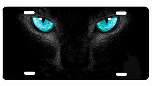 ATD Black Panther Blue Eyes Personalized Novelty Front License Plate Decorative Vanity Aluminum car tag