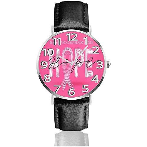 Blog-Breast-Cancer-Awareness horloges PU lederen polshorloge Life Silence Quartz horloge met zilver roestvrij staal