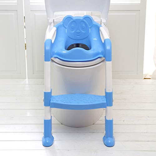 Infant potty training toilet, adjustable training toilet with step stool, toddler children's toilet training chair, thickened seat with handles, non-slip wide steps (Blue)