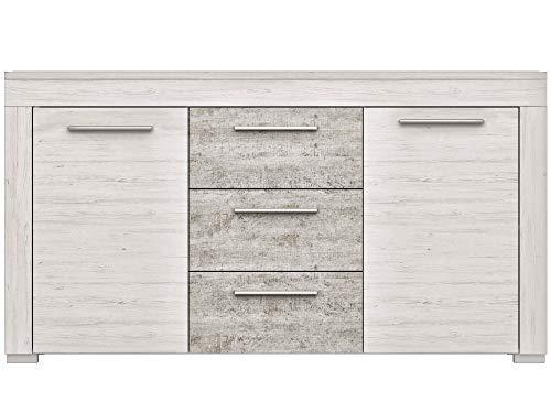 Newfurn Sideboard Commode Modern dressoir highboard Multifunctionele kast II 160x86,2X 40 cm (BxHxD) II [Adrian.six] in Anderson grenen wit/betonlook woonkamer slaapkamer eetkamer
