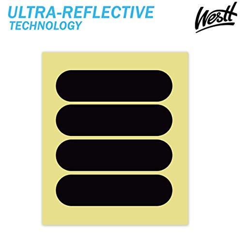 Westt Stickers - Pegatinas Reflectantes Casco Moto, Kit de 4 Adhesivos Reflectante Casco Moto - Pegatina Negra