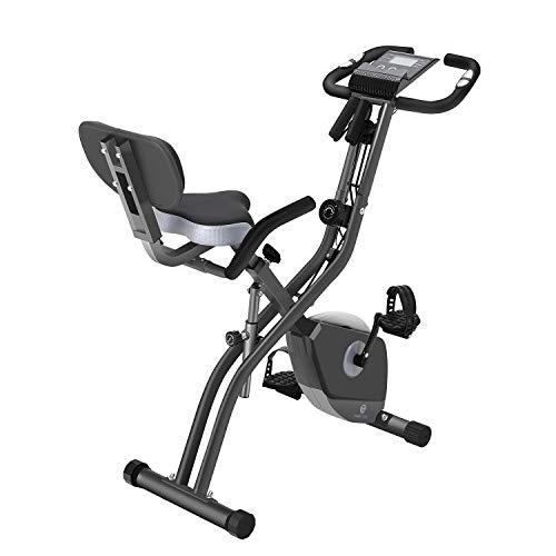 Bicicleta estática F Bike Fitness Bike 10 ajustes de resistencia magnéticos, monitor LCD plegable, dispositivo de fitness (Color 2) (Color 2)