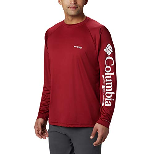 Columbia Mens PFG Terminal Tackle Long Sleeve Tee , Beet/White Logo, X-Large