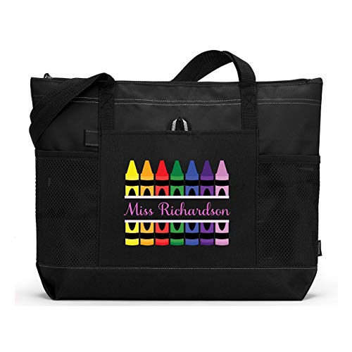 Teacher Crayons Personalized Zippered Tote Bag