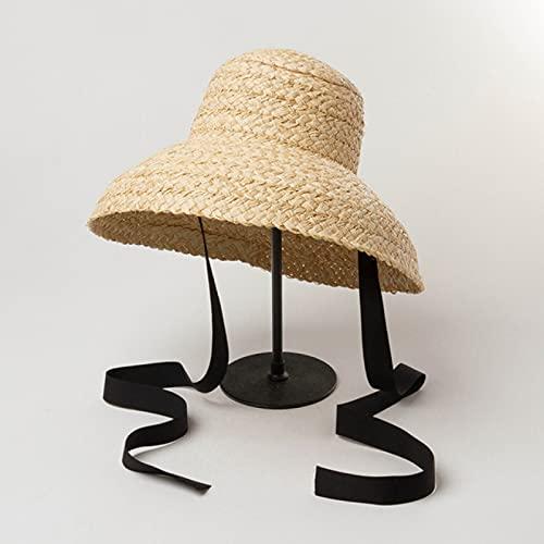 MHBY Sombrero para el Sol, Sombrero de Paja de Fondo Plano Retro para Mujer Hecho a Mano, Sombrero de Verano para Playa con protección Solar al Aire Libre para Mujer