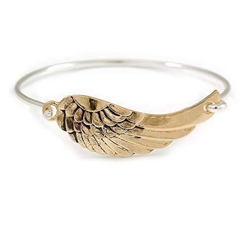 Unbekannt Avalaya Armreif, Vintage-inspiriert, Flügel, Gold/Silber, 19 cm lang