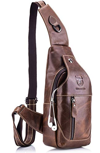 BULLCAPTAIN Genuine Leather Men Sling Bags Casual Crossbody Bag Chest Shoulder Bag Travel Hiking Backpack (Brown), 15cm(5.91inch) x 8cm(3.15inch) x 30cm(11.81inch)