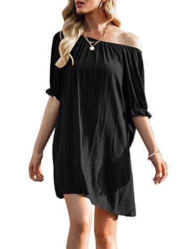YOINS Vestido de verano para mujer, corto, hombros descubiertos, manga larga, sexy, floral, vestido de playa E-negro. XL