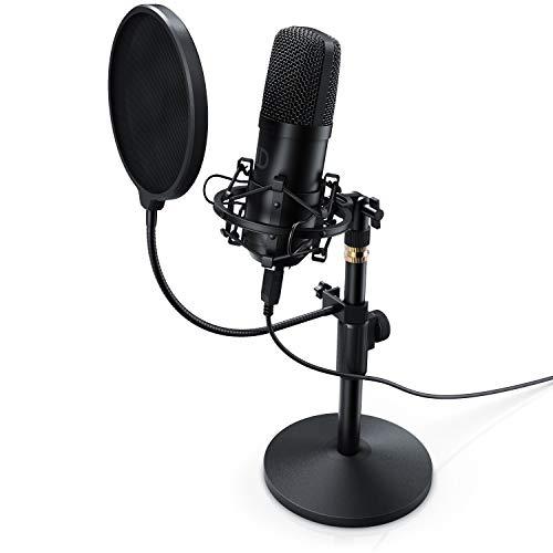 CSL - USB Kondensatormikrofon mit Tischstativ und Popschutz - Studiomikrofon - Microphone Podcast Set - Nierencharakteristik - Mikrofon für Gaming Livestream Youtube Videos an PC PS4