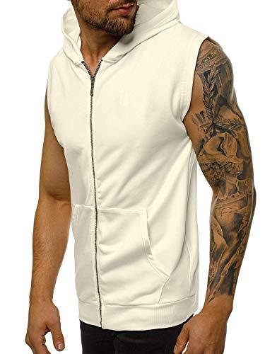 Męska bluza z kapturem bez rękawów z zamkiem błyskawicznym kamizelka topy treningowe koszule kulturystyka trening siłownia bieganie mięśnie tank topy z kieszeniami, biały, L