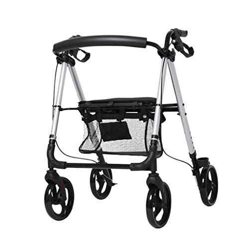 Walkers for Seniors Walker for Seniors Rollator Walker Walking Frame plegable compacto ayuda de movilidad con bolsa de asiento y rueda de transporte Walker Walking Stick Ancianos minusválidos andador