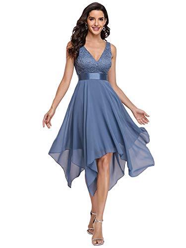 Ever-Pretty Vestidos de Cóctel Corte Imperio Escote en V A-línea con Encaje Gasa Vestido de Fiesta para Mujer Armada Polvorienta 36