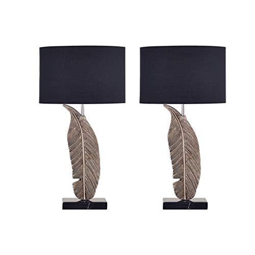 Iluminación Tabla moderna lámpara creativa talla de resina lámpara de mesa con tela Shade e for sala de estar familiar dormitorio de noche Mesilla Lamparas (Quantity : 2)