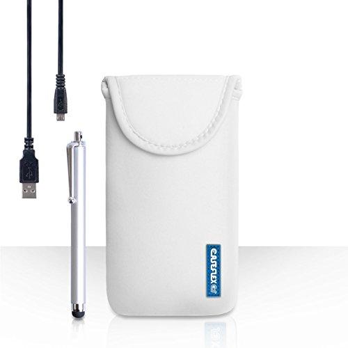 Hülleflex Kompatibel FürHTC Desire 630 Tasche Weiß Neoprene Beutel Hülle Mit Handgriffel Stift Und USB-Kabel