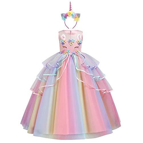 Kinder Mädchen Einhorn Kostüm Kleid Prinzessin Langes Abendkleid Maxikleid Blumenmädchen Hochzeit Brautjungfer Prinzessin Geburtstag Partykleid Faschingkostüm mit Stirnband Regenbogen Rosa 5-6 Jahre