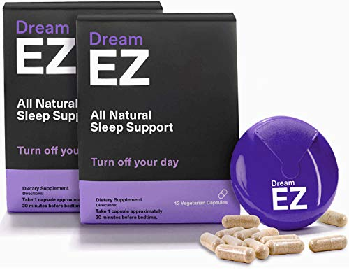 Dream EZ Natural Sleep Aid with 100% Valerian Root and Lemon Balm   Non-Habit Forming   Stress, Anxiety, Insomnia Relief Supplement   Immune Support + Chamomile, Melatonin, L-Tryptophan (36)