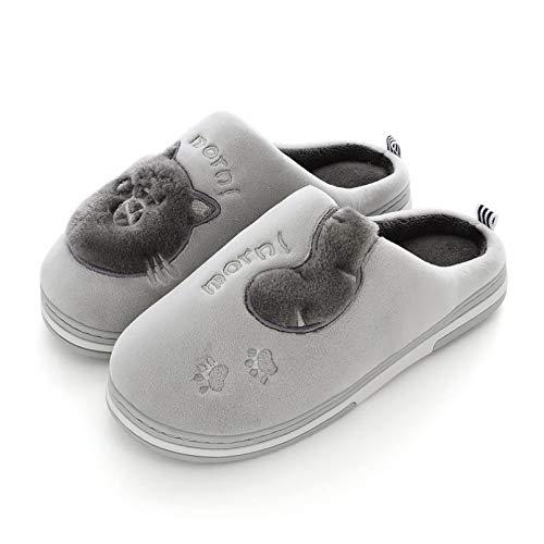 Moda de Invierno para Hombre Zapatillas de casa Zapatos cálidos Zapatillas de casa sin Cordones Chanclas de Piel de casa Tallas Grandes Calzado de Suela Blanda Toboganes de Interior