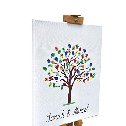 KATINGA canvas voor bruiloft - motief boom Blanco, om zelf te beschrijven - als gastenboek voor vingerafdrukken 30 x 40 cm.