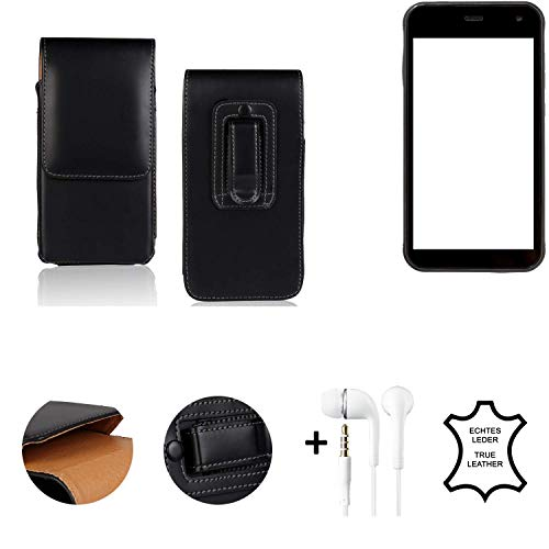 K-S-Trade® Leder Gürtel Tasche + Kopfhörer Für Cyrus CS 22 Seitentasche Belt Pouch Holster Handy-Hülle Gürteltasche Schutz-Hülle Etui Schwarz 1x