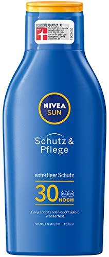 NIVEA SUN Schutz & Pflege Sonnenmilch im 1er Pack (1 x 100ml Reisegröße), feuchtigkeitsspendende Sonnenmilch mit LSF 30, wasserfeste Sonnenlotion