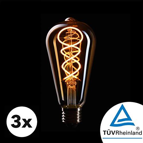 CROWN LED 3 x Edison Glühbirne E27 Fassung, Dimmbar, 4W, 2200K, Warmweiß, 230V, EL17, Antike Filament Beleuchtung im Retro Vintage Look
