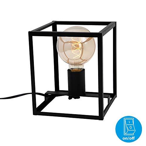 Briloner lampen Tafellamp, 1 lamp, nachttafellamp retro, vintage, zwart staal, 1 x E27, max. 40 watt, incl. kabelschakelaar, zwart, 170 x 170 x 200 mm (LxBxH)