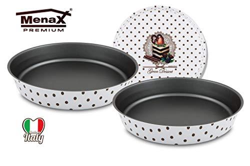 Menax Gran Dessert .- Molde Horno Repostería Redondo para Bizcochos Tartas .-Aluminio 5 Capas de Recubrimiento Antiadherente Ecológico - 24 cm y 28 cm - Set de 2 - Made in Italy
