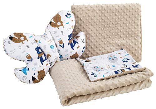 Babydecke Krabbeldecke Set 3in1 100% Baumwolle MINKY Kinderdecke 55x75 + 35x30cm flaches Kissen und Anti-Schock-Kissen Schmetterling Medi Partners (Tiere im Wald mit beigem Minky)