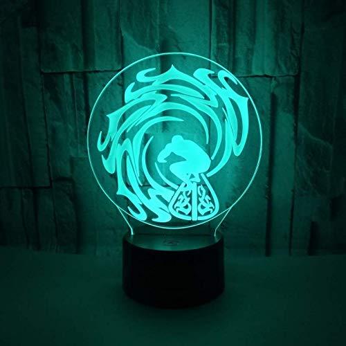 3D illusie nachtlampje optisch LED surf golf nacht 7 kleuren touchscreen nachtkastje slaapkamer kunst decoratie kinderen licht met USB-kabel nieuwtje kerstmis cadeau verjaardag