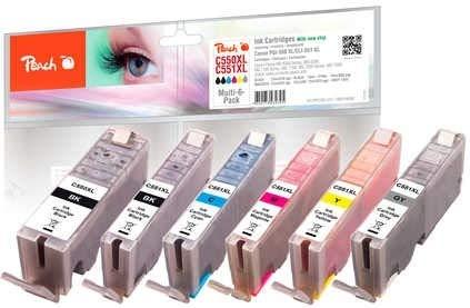 Peach Spar Pack mit grau Tintenpatronen XL-Ergiebigkeit, kompatibel zu Canon PGI-550XL, CLI-551XL