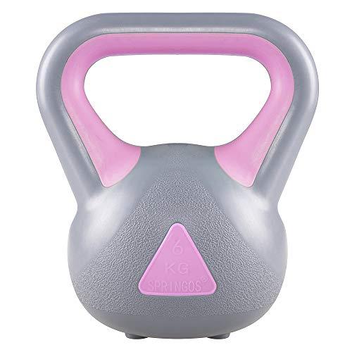 Springos - Kettlebell con peso tondo, 2-20 kg, grigio-rosa, 6 kg.