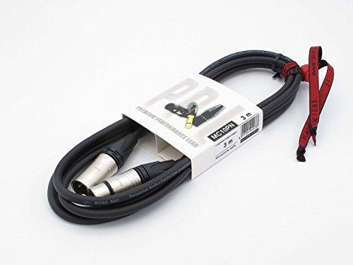X-LEAD MC10PN030BK Serie PLATINUM - Cable de micrófono profesional de calidad - XLR/XLR - cable balanceado - conectores originales NEUTRIK - (3 m, negro) - MADE IN ITALY by INCO