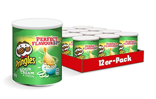 Pringles Sour Cream & Onion Chips | 12 kleine Dosen für unterwegs (12x40g)