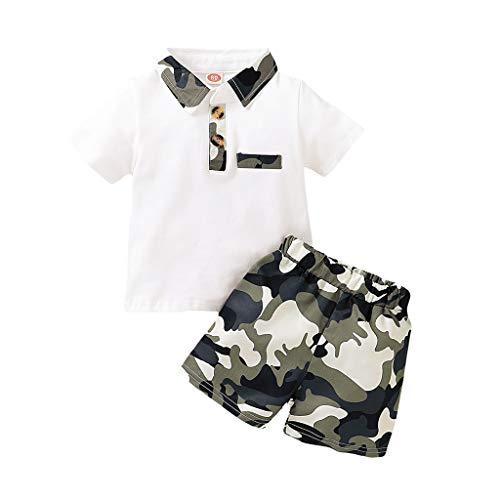 sunnymi 0-18 Monate Kleinkind Baby Jungen Kurzarm Gentleman T-Shirt Tops + Camouflage Shorts Outfits