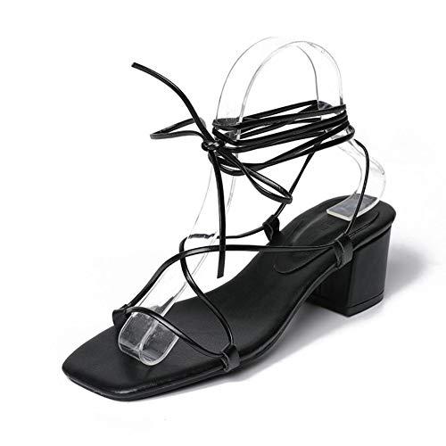 XL_nsxiezi Strand-Schnürsandaletten Damen flach, 37, schwarz