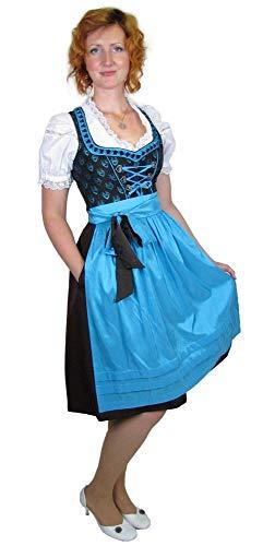 Country Life - Damen Dirndl Trachtenmode Kleid Mocca/weiß/türkis Größe 42