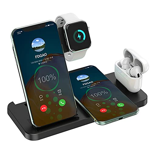 JTGJ Cargador Inalámbrico 4 en 1, Soporte Carga Inductiva Rápida Qi 15W, Compatible con iPhone 13/12/11 / X/XS/XR / 8 / Samsung/Android, Compatible con EstaciónCarga iWatch 6 5 4 3 2