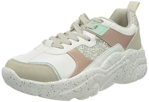 ONLY ONLSANNA-4 PU Chunky Sneaker, Zapatillas Mujer, White Detail W Glitter, 40 EU