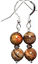 Petrified wood earrings, quartz earrings, all sterling silver, gift from Seattle, gift from Washington, official state gemstone