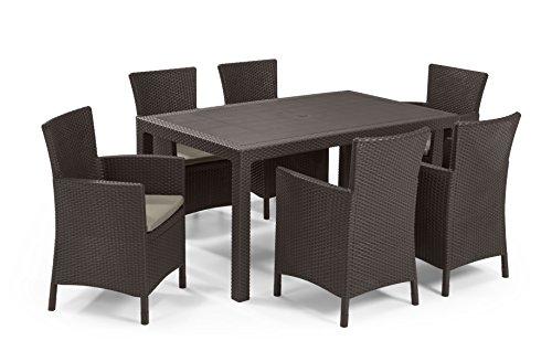 Keter - Set de mobiliario de jardín Melody/Iowa (mesa + 6 sillones), color marrón