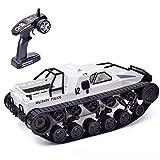 RC Tank, 1/12 tanque de juguete de control remoto de velocidad rápida 2.4G tanque militar todo terreno con efecto de luz, juguete de control remoto para niños adultos (blanco)