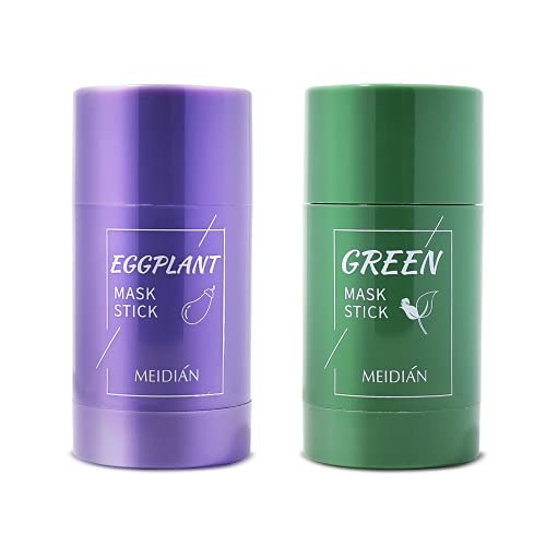 Green Tea Clay Stick Mask Green Tea Eggplant Purifying Clay Stick Mask, Green Tea Solid Mask Deep Cleansing Pores & Blackheads Clay Stick Mask for Improves Skin 2PCS