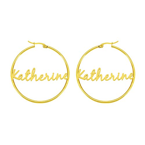 Katherine Personalized Name Earrings for Women Teen Girls Sister Daughter Mom Friend BFF Simple Minimalist Jewelry Trendy Fashion Fancy Unique Gifts for Christmas Mother's Day Birthday