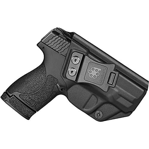 """Amberide IWB KYDEX Holster Fit: Smith & Wesson M&P Shield Plus / M2.0 / M1.0 - 9mm/.40 S&W - 3.1"""" Barrel Pistol   Inside Waistband   Adjustable Cant   US KYDEX Made (Black, Right Hand Draw (IWB))"""