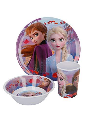 Frozen - Die Eiskönigin Anna & Elsa Kinder Geschirr-Set 3-tlg. Teller, Schale und Becher BPA Frei