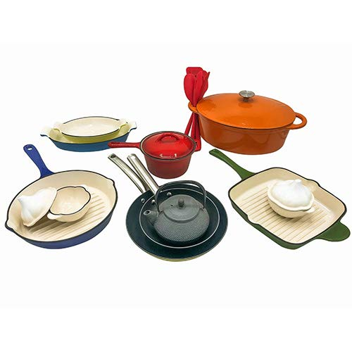 Le Chef 19-Piece Enameled Cast Iron Cookware Set. (Multi-Colored, OR22.)