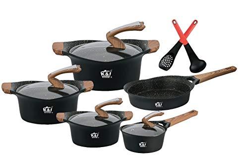 K&I 16tlg- Topfset-Schwerz-Marmor-Keramik Töpfe Kochtopf-Set Kochtöpfe Brat InduktionInduktion Kochgeschirr, Spülmaschinengeeignet