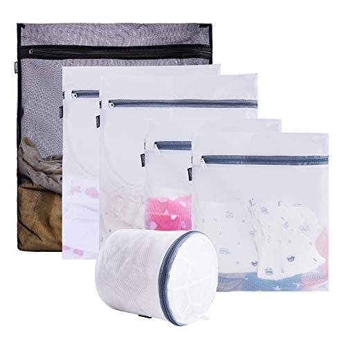 Yamato 6 Pack Mesh Laundry Bags For Delicates With Durable Zipper, Bra Lingerie Wash Bags For Garment, Underwear, Sock, Baby Clothes, Sweater, Travel, Washer Dryer(1 Black+5 White)