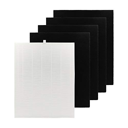 Winix 115115 Replacement Filter A for Winix C535, 5300, 6300, 5300-2, P300 Plasma wave Air Purifier, True HEPA Filter Plus 4-Pack Carbon Pre-filters