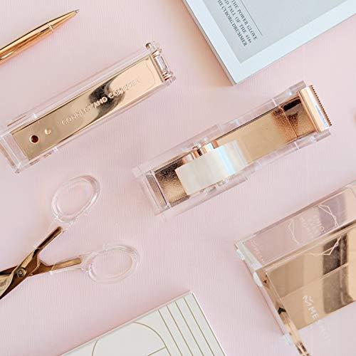 Rose Gold Stapler for Desk - Clear Acrylic Stapler - Cute Stapler for Office Desktop - Designer Stapler - Elegant Desk Accessory - Trendy Novalty Stapler - Pretty Copper Color - Large Lucite Stapler Photo #7